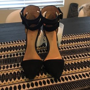 Suede and Leather pointy toe stilleto by LAMB